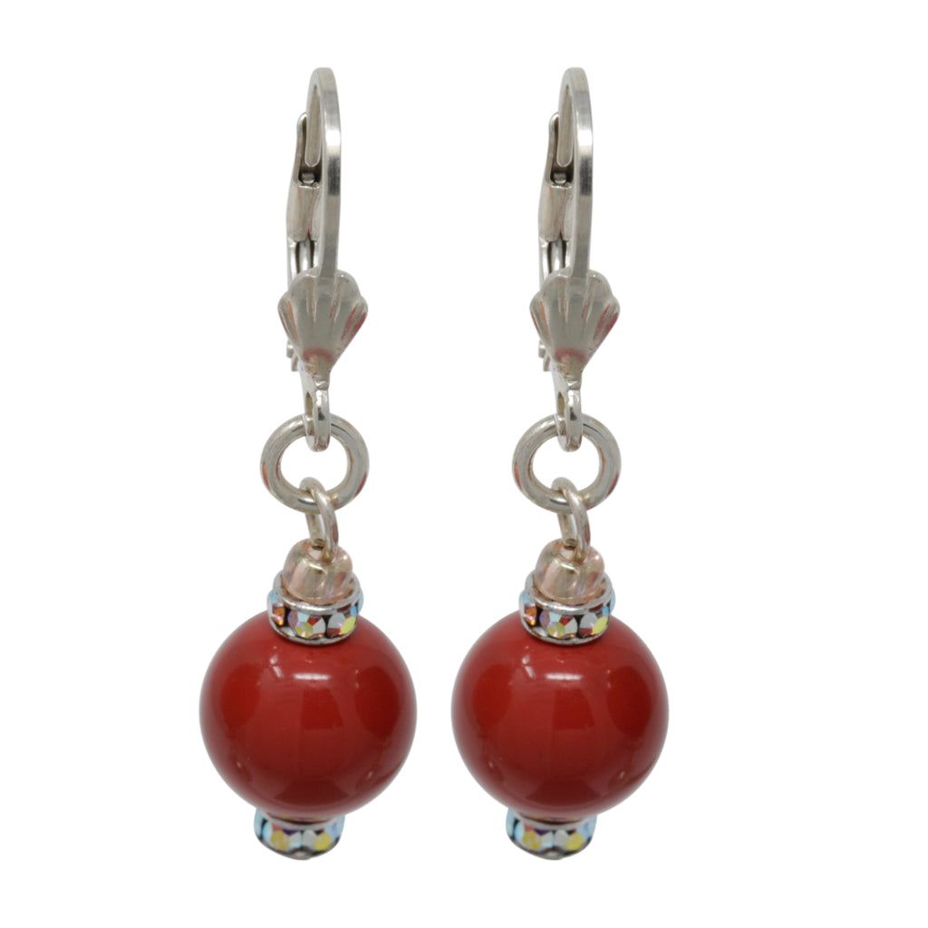 Earring-Pearl and Crystal Sterling Silver Dangles