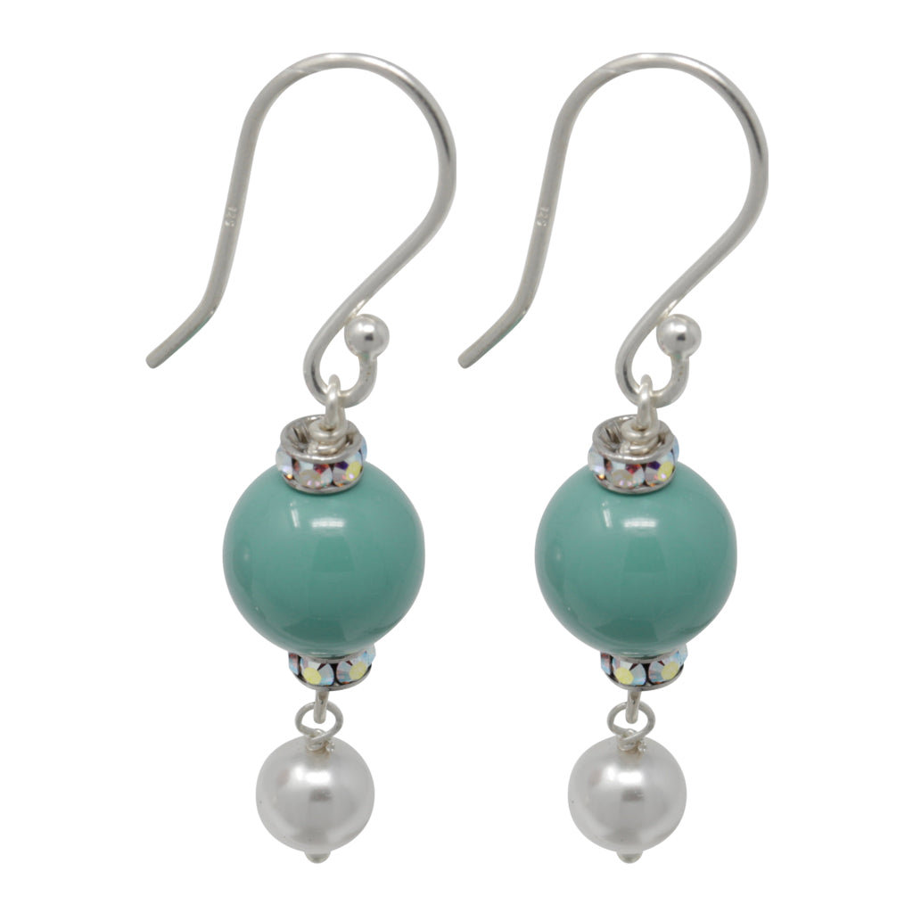 Earring-Pearl and Crystal Sterling Silver Double Drops