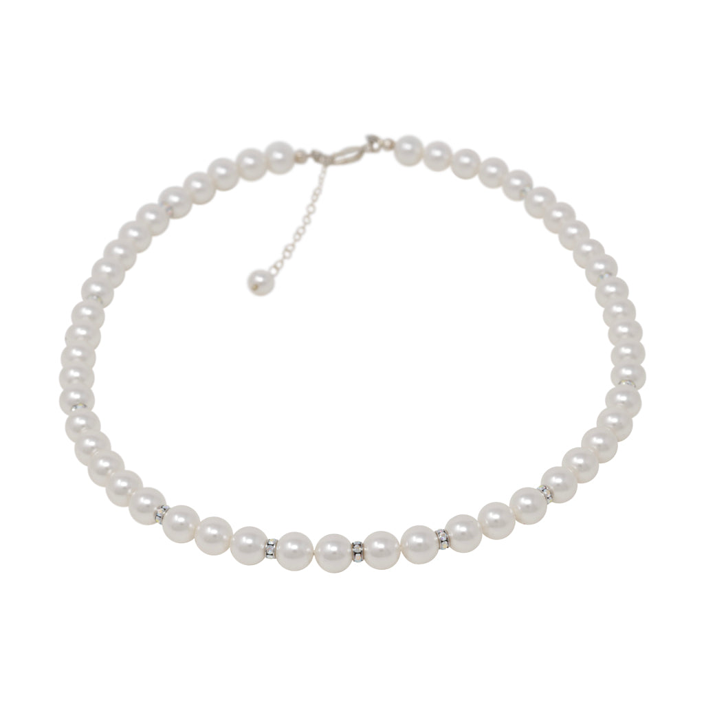 Necklace-Pearl and Crystal Sterling Silver Single Strand Necklace