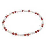 Necklace-Multicolor Pearl and Crystal Sterling Silver Single Strand