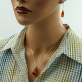 Red Magma Earrings - Sterling Silver - Red Magma - Crystal Ball Post