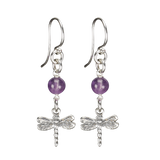 Sterling Silver Dragonfly Earrings Handcrafted Jewelry Amethyst Drop Earrings