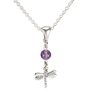 Sterling Silver Dragonfly Necklace Handcrafted Jewelry Amethyst Pendant Necklace