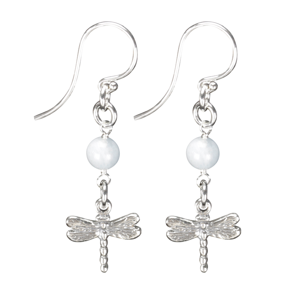 Sterling Silver Dragonfly Earrings Handcrafted Jewelry Aquamarine Drop Earrings