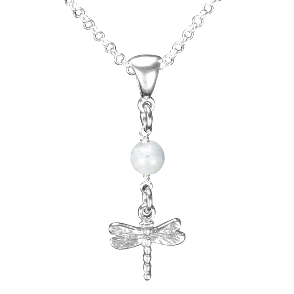 Sterling Silver Dragonfly Necklace Handcrafted Jewelry Aquamarine Pendant Necklace