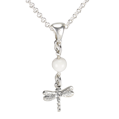 Sterling Silver Dragonfly Necklace Handcrafted Jewelry Howlite Pendant Necklace