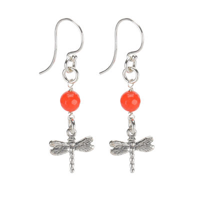 Sterling Silver Dragonfly Earrings Handcrafted Jewelry Orange Malay Jade Drop Earrings