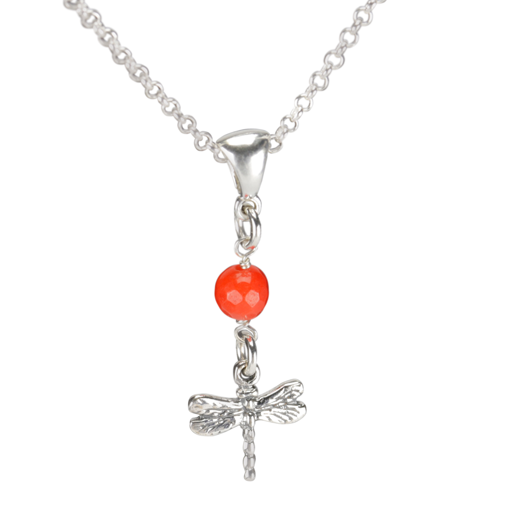 Sterling Silver Dragonfly Necklace Handcrafted Jewelry Orange Malay Jade Pendant Necklace
