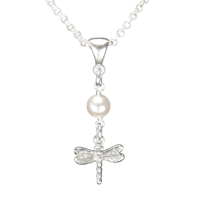 Sterling Silver Dragonfly Necklace Handcrafted Jewelry Pearl Pendant Necklace