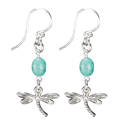 Sterling Silver Dragonfly Earrings Handcrafted Jewelry Turquoise Drop Earrings