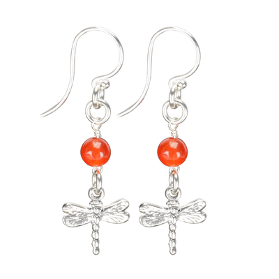 Sterling Silver Dragonfly Earrings Handcrafted Jewelry Red Malay Drop Earrings