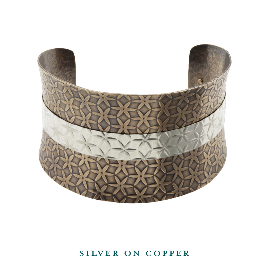 Silver on copper anticlastic cuff bracelet front