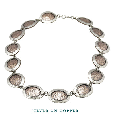 silver on copper oval disc necklace