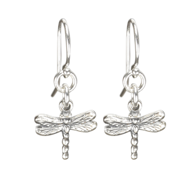 Sterling Silver Dragonfly Earrings Handcrafted Jewelry Cute Drop Earrings