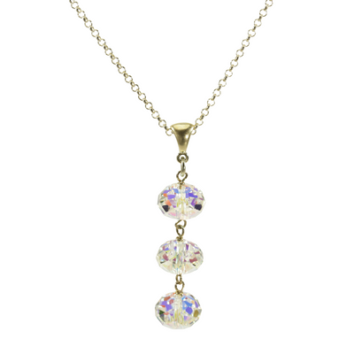Sterling Silver Triple AB Crystal Drops Pendant Necklace