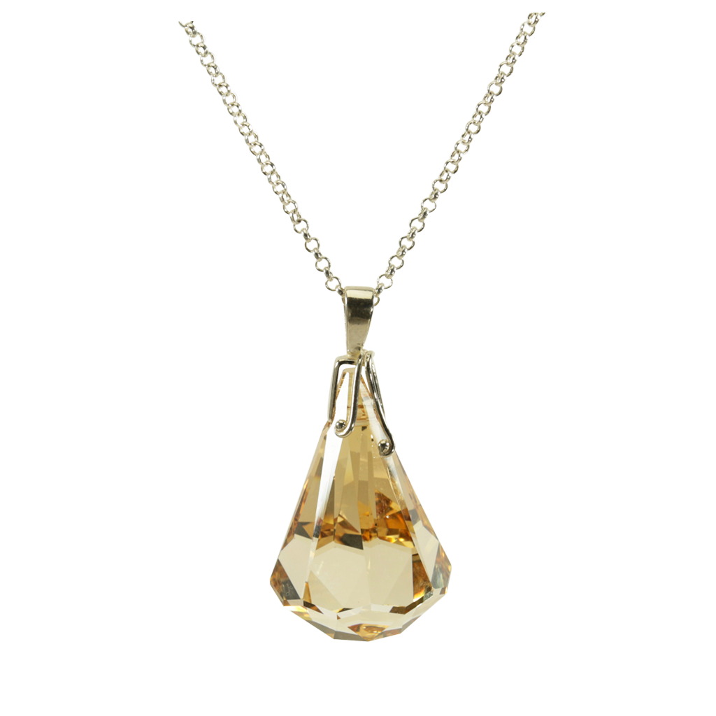 Fancy Crystal Raindrop Gold Necklace