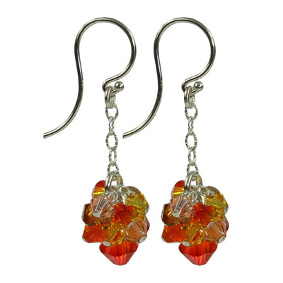 Fire Opal Crystal Earrings - Sterling - Opal Crystal Earrings - Summer Hues