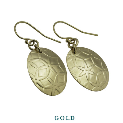 Earrings-Simple Gold Oval Disc Drop Earrings