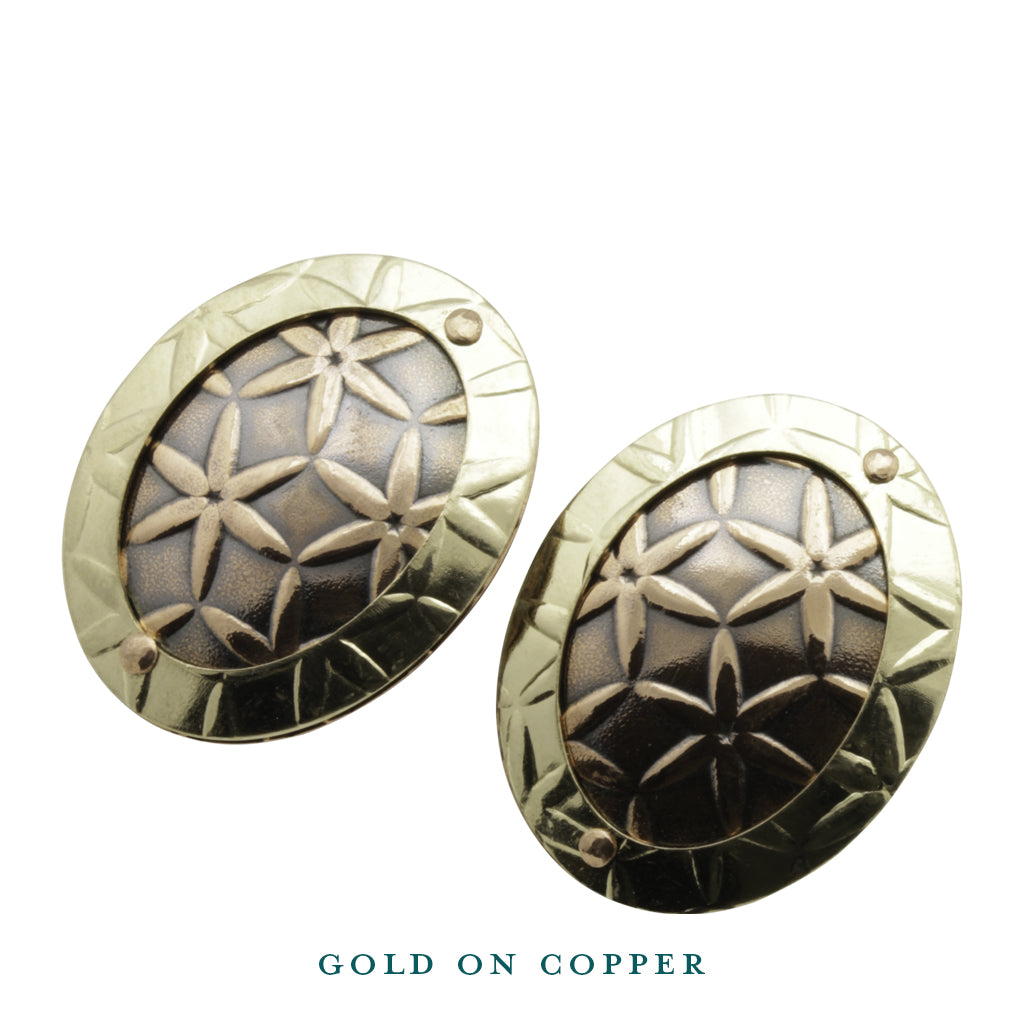 oval disc gold on copper stud earrings front view