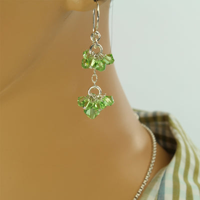Sterling Peridot Drop Earrings - Trendy - Peridot Drop Earrings - Cluster