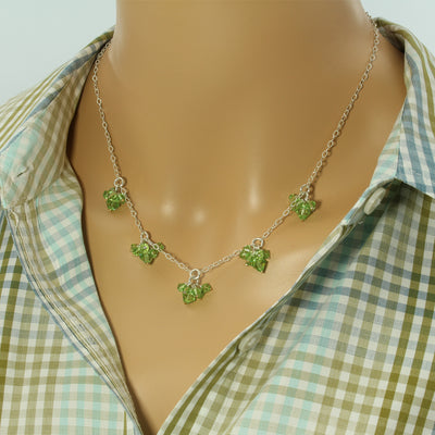 Sterling Peridot Drop Necklace - Trendy - Peridot Drop Necklace - Cluster