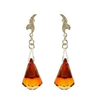 Fancy Crystal Raindrop Gold Earrings - Medium