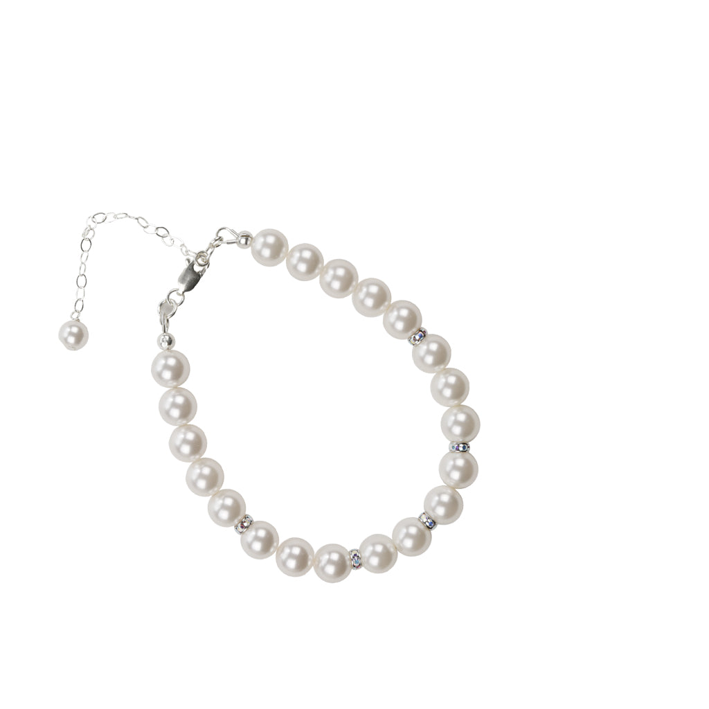 Pearl and Crystal Sterling Silver Single Strand Bracelet