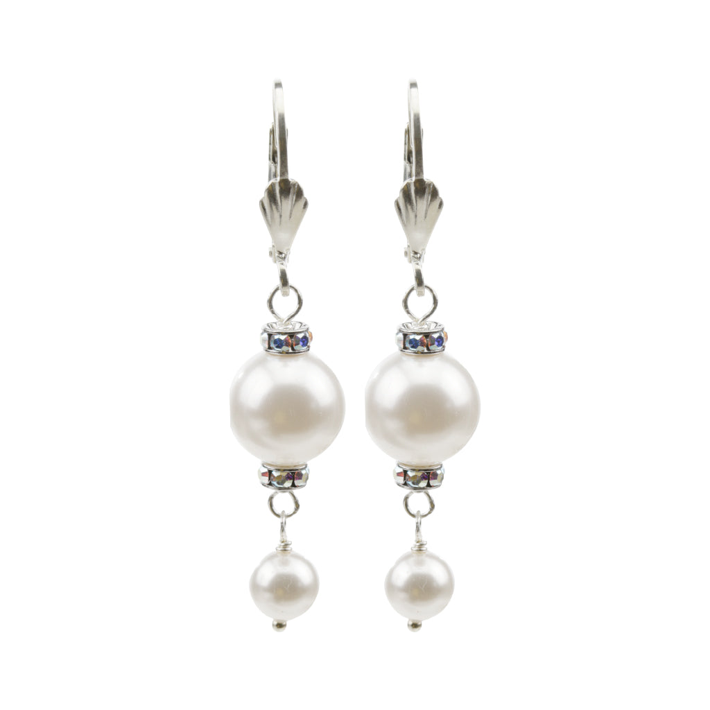 Pearl and Crystal Sterling Silver Double Drop Earrings