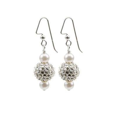 Pearl and Crystal Sterling Silver Drop Earrings with Sparkle Beads.
