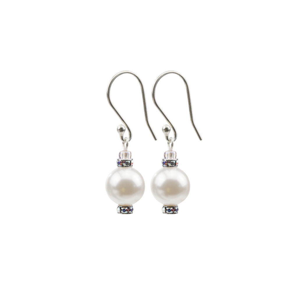 Pearl and Crystal Sterling Silver Drop Earrings