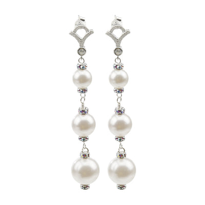 Pearl and Crystal Sterling Silver Triple Drop Earrings
