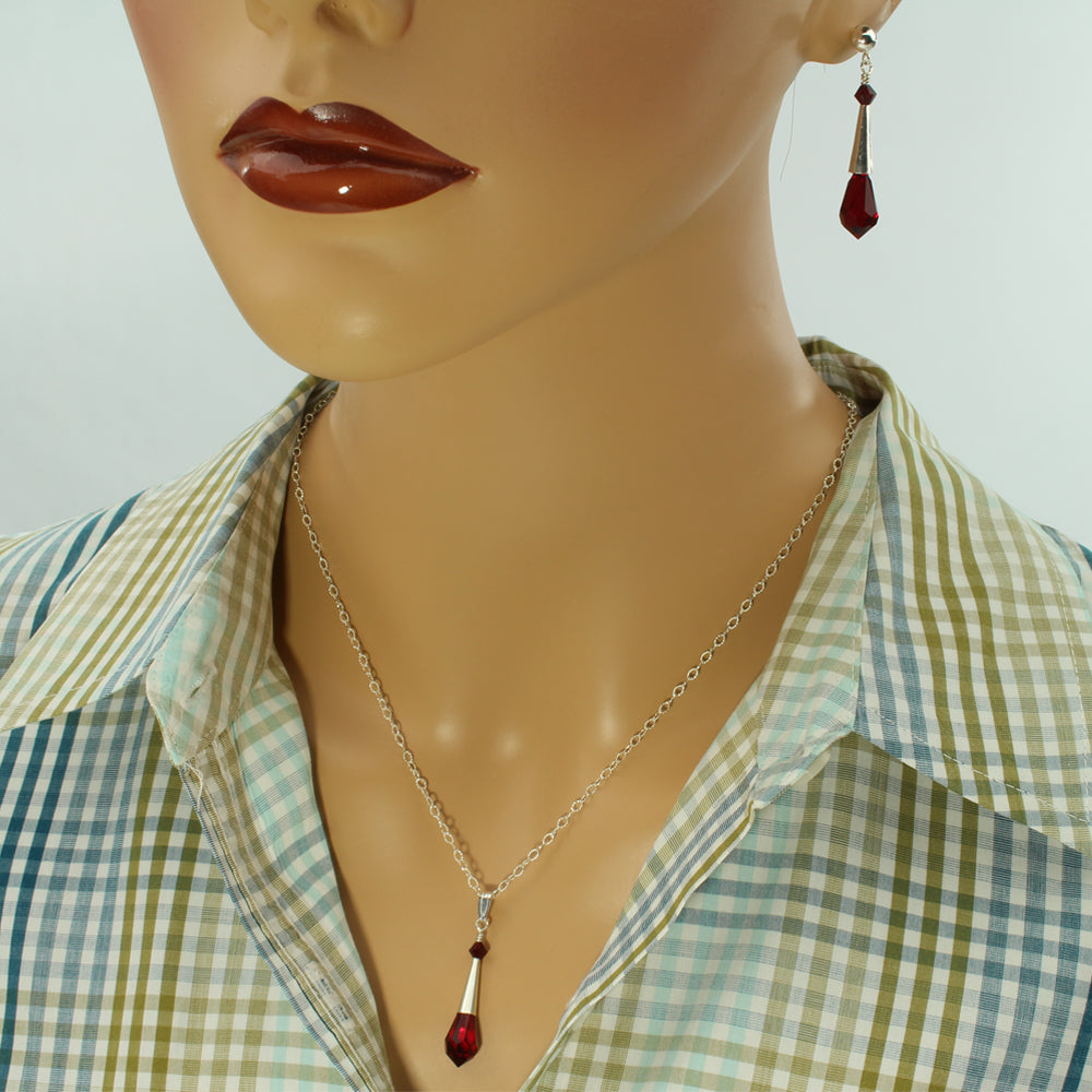 Red Faceted Teardrop Necklace - Gift For Her