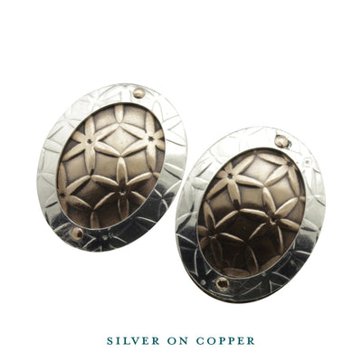 Oval Disc Silver on Copper Stud Earrings
