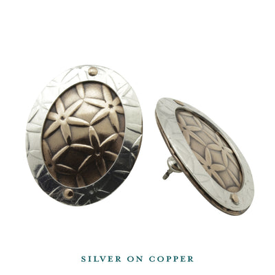 Earrings-Oval Disc Silver on Copper Stud Earrings