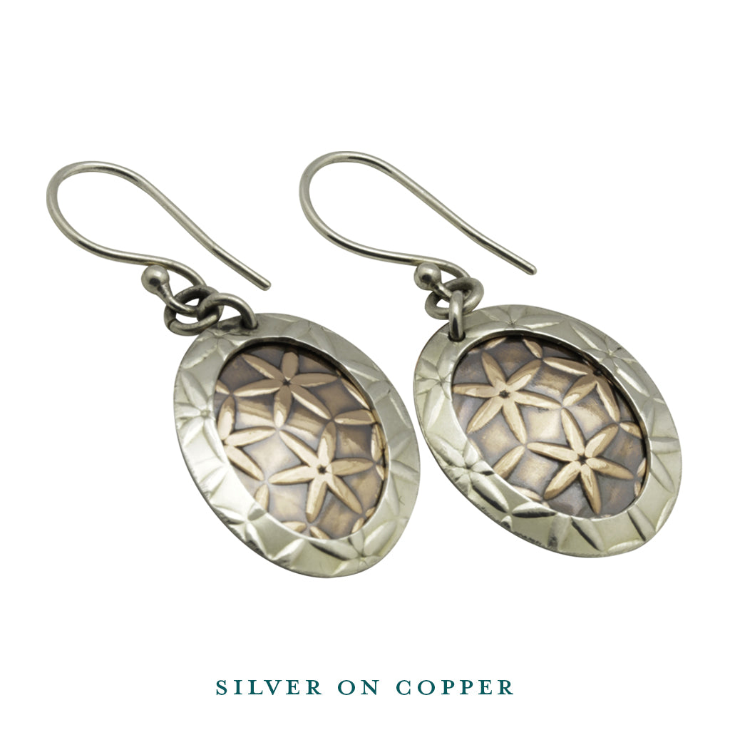 Handcrafted Silver Copper Dangle Earrings