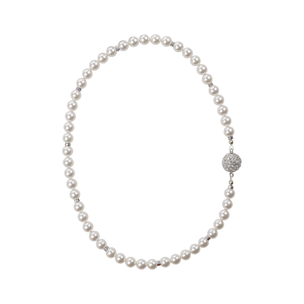 Pearl and Crystal Single Strand Necklace-Sparkle Magnetic Clasp
