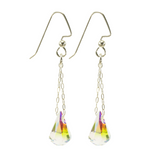 Fancy Crystal Raindrop Gold Earrings -Small