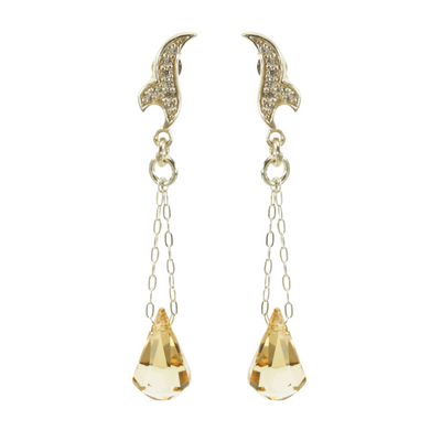 Fancy Crystal Raindrop Silver Earrings -Small