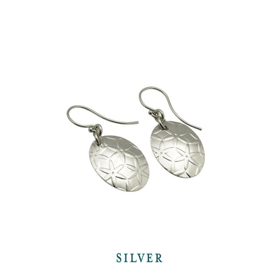 Earrings-Simple Silver Oval Disc Drop Earrings