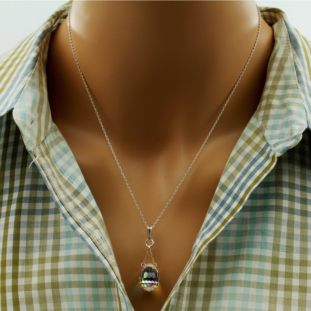 Sparkly Crystal Drop Necklace - Faceted - Crystal Drop Necklace - Sterling