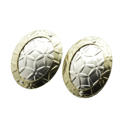 oval disc gold on silver stud earrings
