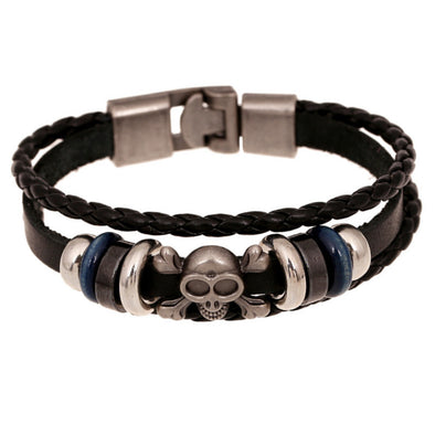 Leather Woven Skull Bracelet