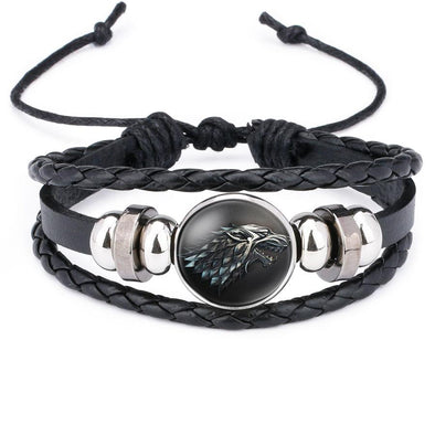 Game of Thrones House Stark Wolf Leather Bracelets