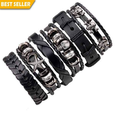 6 Genuine Leather Bracelets SET