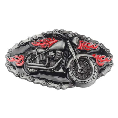 3D Motorcycle & Chain Metal Belt Buckle