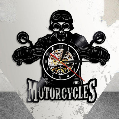 Biker Skull Vinyl Art Clock Wall Art