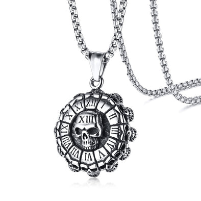 Punk Skull Pendant Roman Numbers Necklace