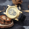 Skeleton Leather Watch (Gold)
