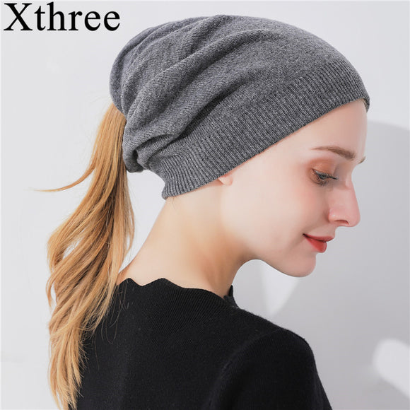 Double-Deck Womens Ponytail Beanie