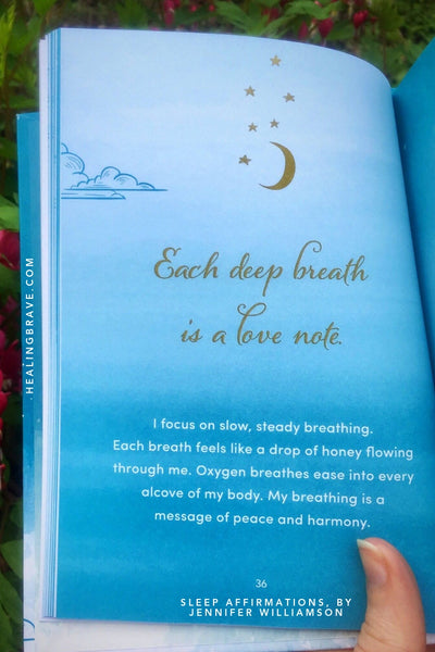 I focus on slow, steady breathing. Each breath feels like a drop of honey flowing through me. Oxygen breathes ease into every alcove of my body. My breathing is a message of peace and harmony.